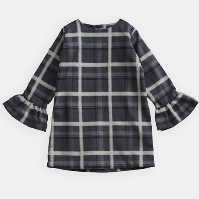 Heather tartan shift dress with bell sleeves