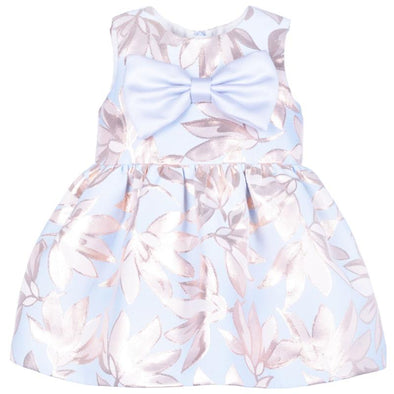 Pink and Blue Floral Adorable Jacquard Bow Bodice Dress and Bloomers