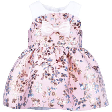 Metallic Blossom Jacquard Ruffle Bodice Baby Dress and Bloomers with Cute Pink Bow