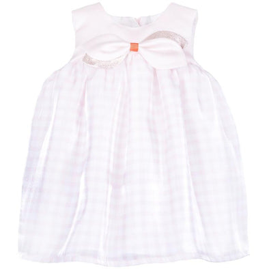 Rose and Cloud Checked Organza Trapeze Dress and Bloomer Set for Baby