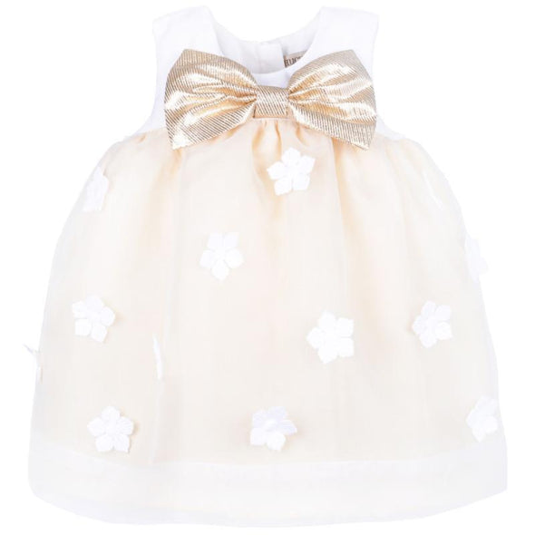 Adorable Organza Trapeze Baby Golden Dress and Bloomer Set