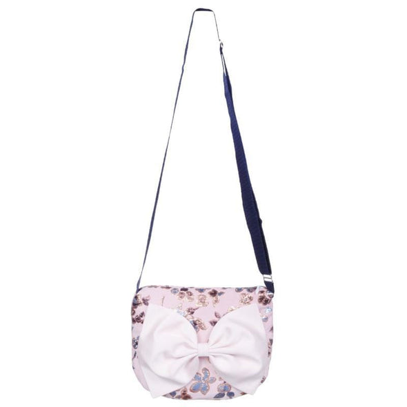 Pink Bow Bag with Blue Flowers and Adjustable Strap