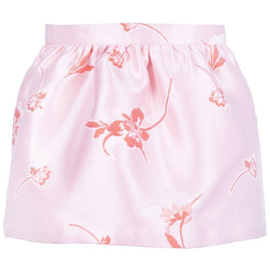Pink Gathered Festive Skirt with Red Flowers