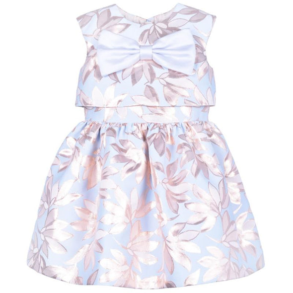 Powder Blue and Rose Gold Metallised Giant Blue Bow Bodice Festive Dress