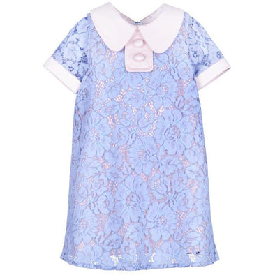 Short Sleeved Cornflower Shift Dress with White Collar and Buttons