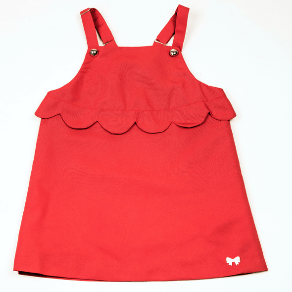 Scalloped Pinafore Cranberry Dress with Golden Buttons and Big Ruffle