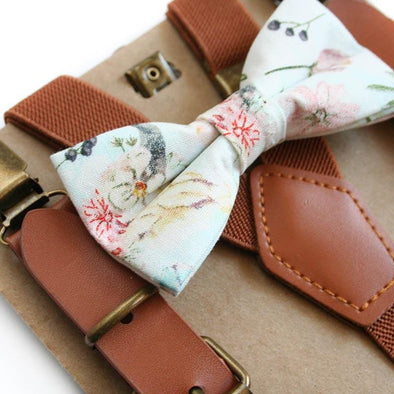 Baby, Toddler & Youth Boho Print Bow Tie and Camel Leather Suspenders Set
