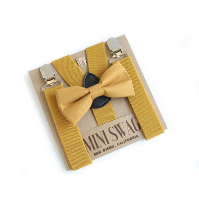 Baby, Toddler & Youth Bow Tie and Suspenders Solid Mustard Set