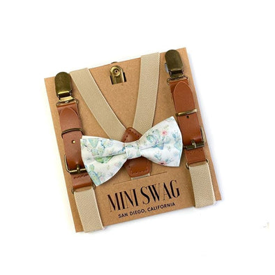 Cute Elegant Cactus Printed Bow Tie and Khaki Leather Suspenders for Little Babies & Kids