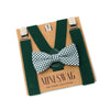 Baby, Toddler & Youth Gingham Green Bow Tie and Hunter Green Leather Suspenders Set
