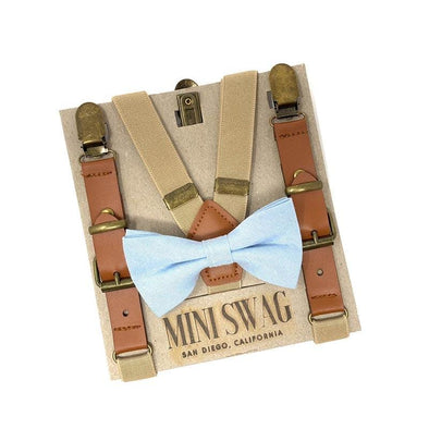 Baby, Toddler & Youth Light Blue Bow Tie and Khaki Leather Suspenders Set