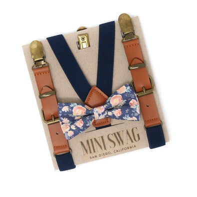 Baby, Toddler & Youth Light Blue Floral Bow Tie and Navy Leather Suspenders Set