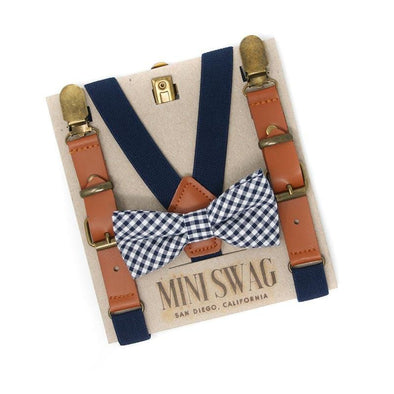 Baby, Toddler & Youth Navy Gingham Bow Tie and Navy Leather Suspenders Set