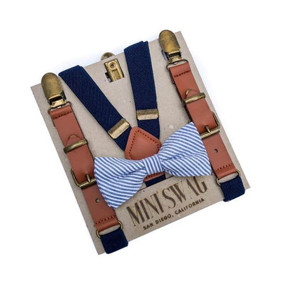 Baby, Toddler & Youth Navy Seersucker Bow Tie and Navy Leather Suspenders Set