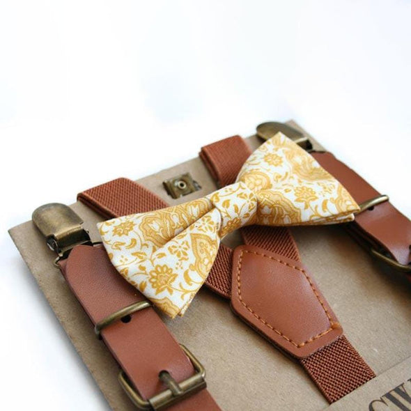 Mustard Floral Bow Tie
