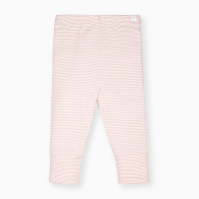 Blush pink and white striped super soft leggings for babies and toddlers