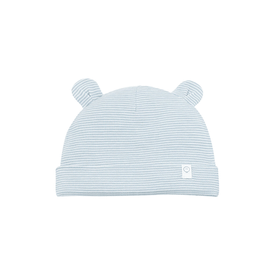 White and blue stripes bear hat for babies