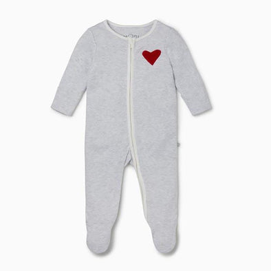 Little Valentine Grey Organic Zip-Up Sleepsuit
