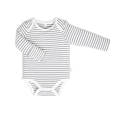 Baby Grey Stripe Long Sleeve Bodysuit