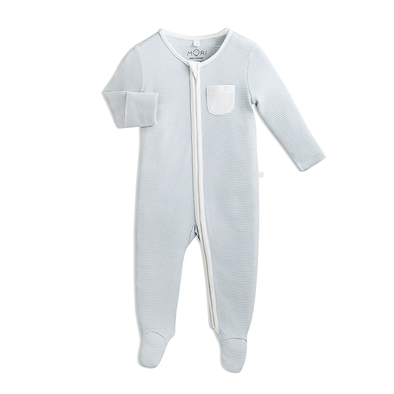Baby Blue Stripe Organic Zip-Up Sleepsuit