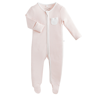 Baby Blush Stripe Organic Zip-Up Sleepsuit