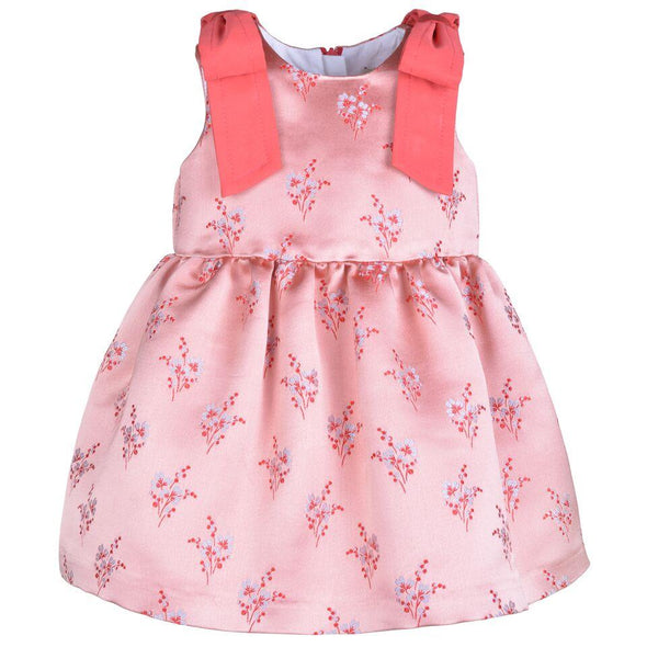 Snowberry Satin Jacquard Bodice Dress and Bloomers for Baby with Tulle Underskirt