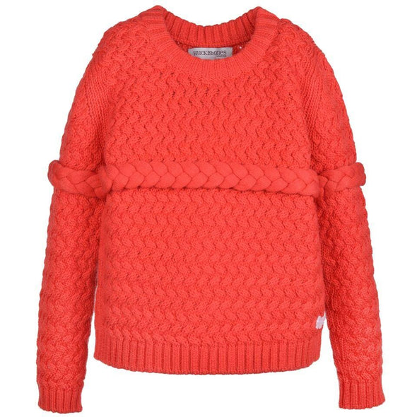 Red Merino Red Sweater with Ribbed Neckline with Braided Detail on Chest and Sleeves