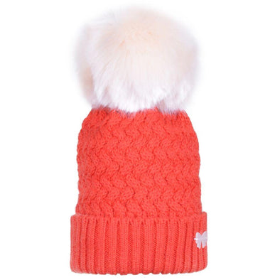 100% Merino Wool  Chunky Merino Orange Hat with Blush Pom Pom