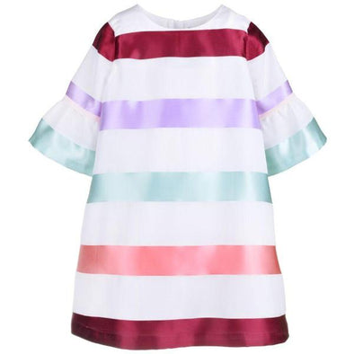 Elegant Bell Sleeve Shift Dress with Burgundy, Green and Peach Stripes