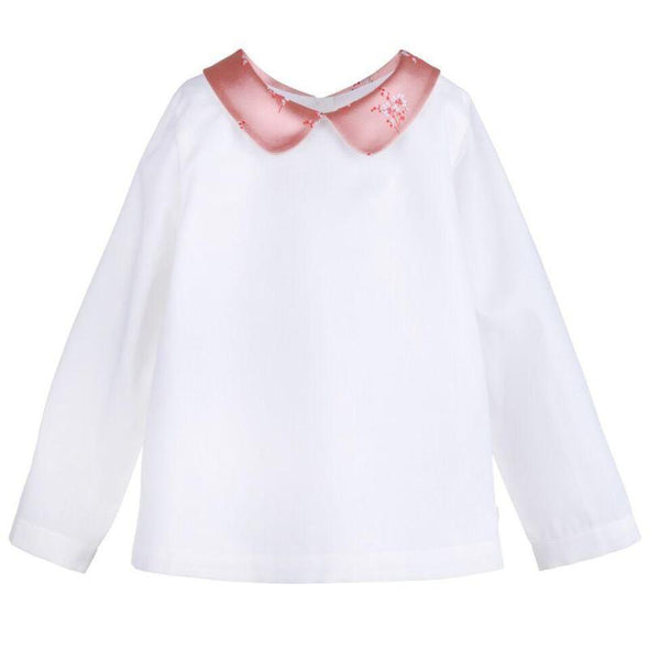 100% Cotton Blouse with Snowberry Satin Jacquard Contrast Collar