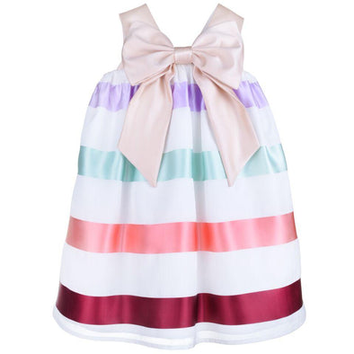 Multi Ribbon Trapeze Baby Dress and Bloomers  with Giant Golden Bow Lined with 100% Cotton