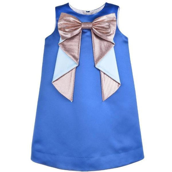 Origami Bow Royal Blue Shift Dress in Duchess Satin