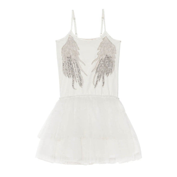 White Sequin Whispers in the Wings Tutu Dress
