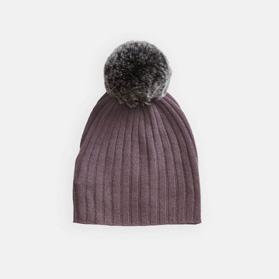 Rib Hat with Rabbit Fur Pom Pom