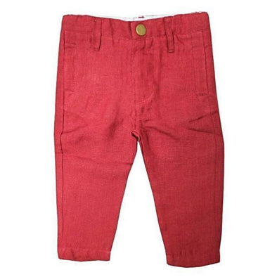 Burgundy Linen Chino Pants