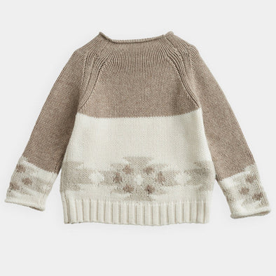 Beige and white Patterned Knitted Merino Sweater