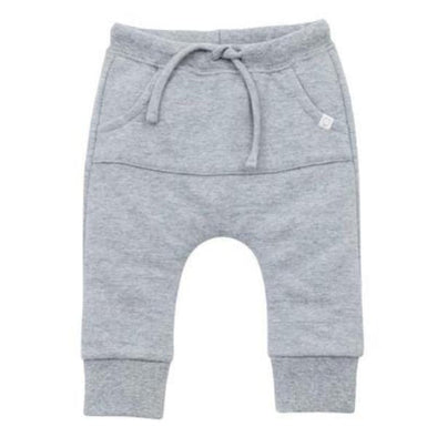 Baby and toddler organic cotton grey joggers with pockets and lace