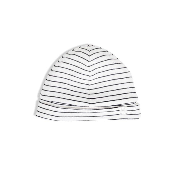 Baby organic cotton super soft black and white striped hat