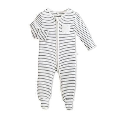 Baby Grey Stripe Organic Zip-Up Sleepsuit
