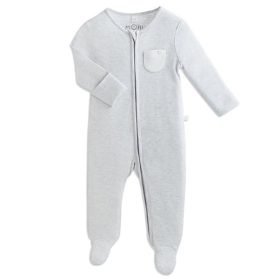 Baby Grey Organic Zip-Up Sleepsuit