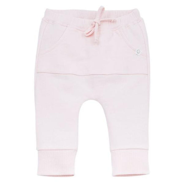 Baby and toddler organic cotton pink joggers with pockets and lace