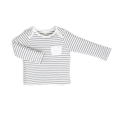 Baby and toddler organic cotton black and white striped everyday T-shirt