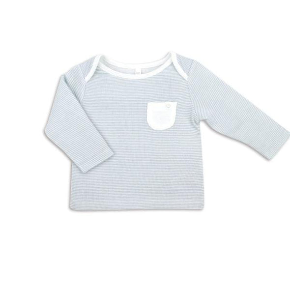 Baby and toddler organic cotton blue and white striped everyday T-shirt