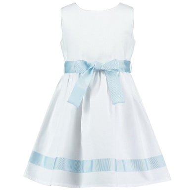 Charlotte White & Pale Blue Piquet Dress
