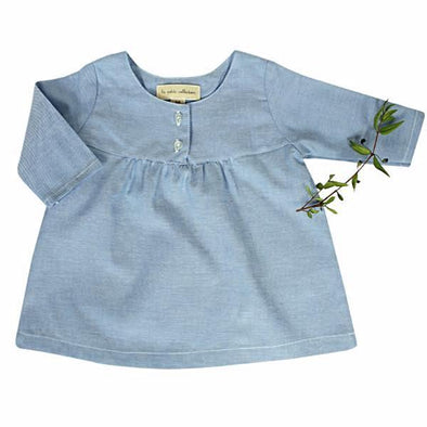 Sky Blue Long-Sleeved Chambray Dress