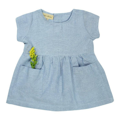Sky Blue Short-Sleeved Chambray Dress