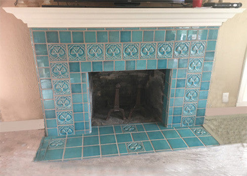 Ceramic tile fireplace