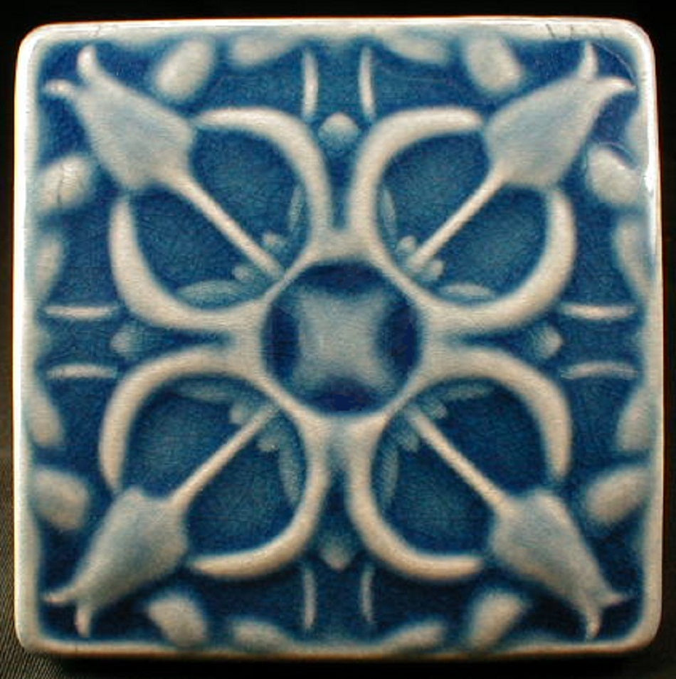 4 x 4 Tulip tile in glossy blue crackle glaze - Tahitian Islands