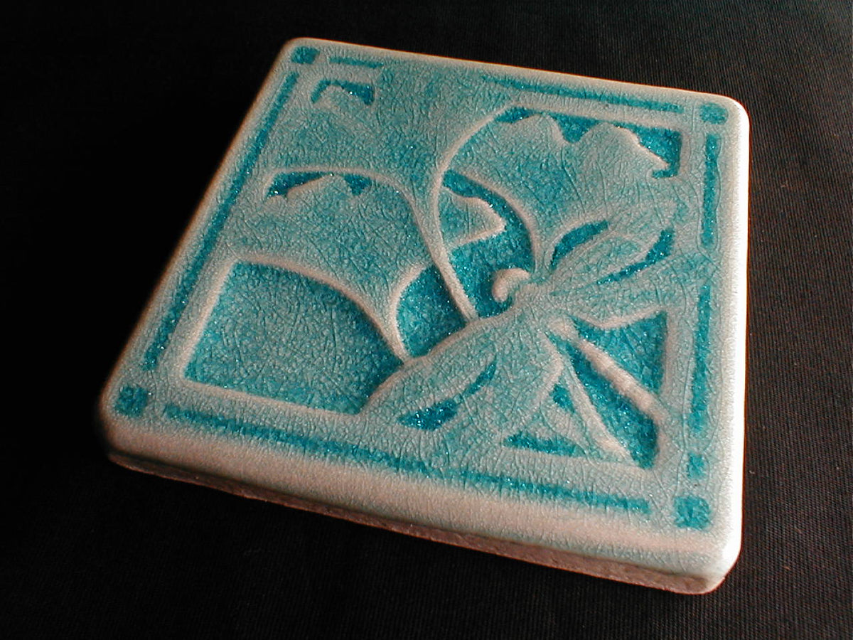 4 x 4 Gingko dragonfly tiles - South Pacific Blue