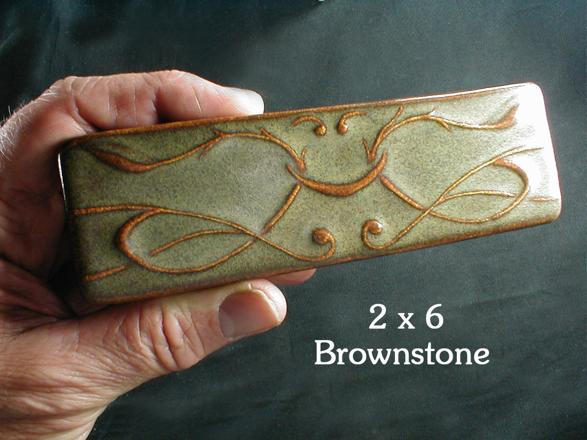 2 x 6 Art Nouveau border tile - Brownstone glaze